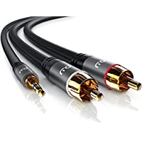 CSL - 5m Cinchkabel Stereo 3,5mm Klinke zu 2x Cinch | AUX Eingänge Audio 3,5mm Klinken Stecker zu 2x Cinch / RCA Stecker | Metellgehäuse vergoldet / Audiokabel doppelt geschirmt