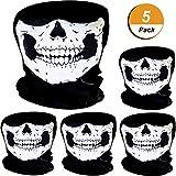 5 Stück Schädel Maske Schädel Gesicht Maske Motorrad Fahrrad Halbgesicht Skelett Maske Halloween Outdoor Sport Kopftuch