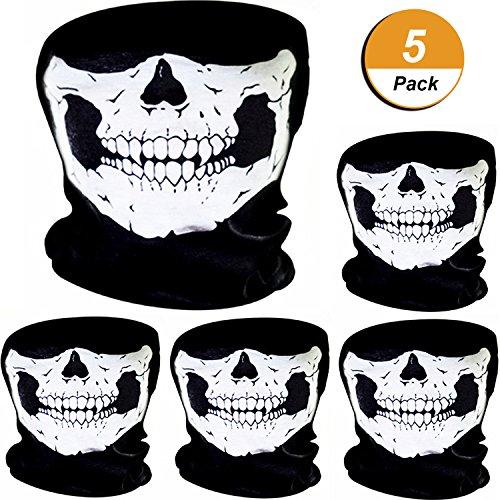 5 Stück Schädel Maske Schädel Gesicht Maske Motorrad Fahrrad Halbgesicht Skelett Maske Halloween Outdoor Sport Kopftuch (Halloween Skelette)