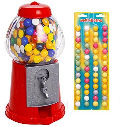 DISTRIBUTORE CARAMELLE + 140 gr di GOMME DA MASTICARE COLORATE - Salvadanaio dispenser rosso Chewing Gum sfere palline colorate