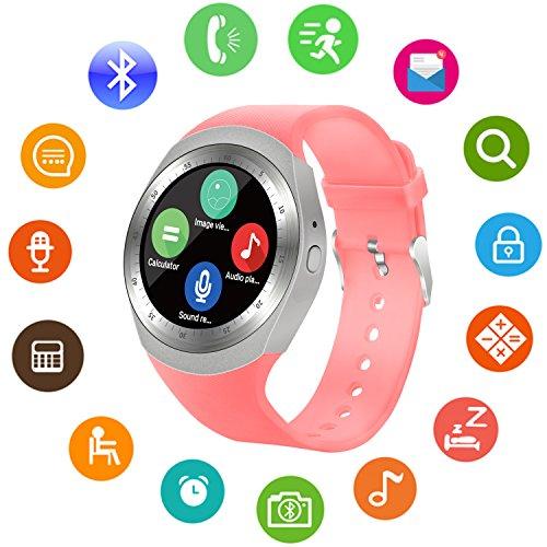Sepver Smart Watch Sn05 ronde Smartwatch podomètre tracker de fitness avec emplacement pour carte SIM TF notifications d'appel pour iOS Android Samsung Huawei Sony LG HTC Google Homme Femme Enfants (Rose)