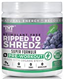 Ripped to Shredz Preworkout Drink for Hardcore Improvement Stimulant Free Super Formula with BCAAs