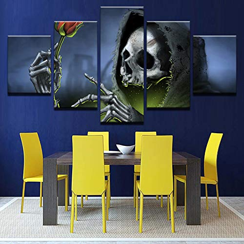 QJXX Leinwanddrucke Wall Art Animierte Gemälde Allerheiligen Halloween Bilder Moderne Poster und Drucke Für Wohnzimmer Home Decor 5 Panel Gerahmt,B,20X30x220x40x220x50x2 (Animierte Halloween Bilder)