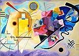 Poster 100 x 70 cm: Gelb, rot und blau von Wassily Kandinsky - hochwertiger Kunstdruck, Kunstposter