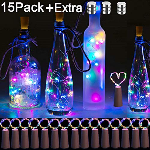 Bottle Lights with Cork, 15 Pack Cork Shaped Battery Operated Wine String Lights Silver Wire Fairy Mini DIY Lights for Party Birthday Christmas Wedding Home Table Décor, Multicolor