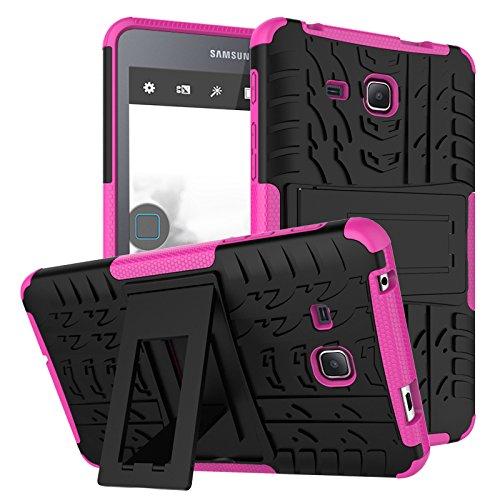 GoGu Case Für Samsung Tab A 7,0 Zoll 2016 T280 Dual Layer Hybrid Rüstung Fall Abnehmbarer Ständer 2 In 1 Stoßfest Tough Robuste Fall Abdeckung (Farbe : Rosa) (6 Iphone Hybrid-rüstung Fällen)