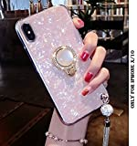 LOXXO Soft Silicone Clear Protective Case with Bling Ring for iPhone X(Silver, Pink)
