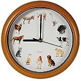 Musical diseño de cinta de doble cara de reloj de pared con sonidos de animales cada hora 12 modo de suspensión Batería