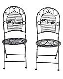 2x Gartenstuhl Eisen Stuhl Klappstuhl Antik-Stil Metall schwarz Bistro Garten