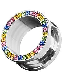 3-14mm Epoxy Crystal Flesh Tunnel Piercing versiegelte Kristalle Regenbogen Farb