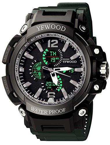 YFWOOD Herren Armbanduhr Digital Analog Sport Wasserdichte Multifunktions Outdoor Doppel Zeit Armee Militär Armbanduhr mit PU Schwarz Shell Grün Strap - Digital-arm