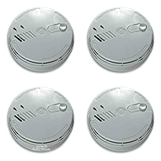 4 x Aico EI141RC Ionisation Smoke Alarms Mains / 9V Battery Back Up with FREE MCD LED Keyring Torch