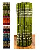 Kapok Liegematte der Marke Asia Wohnstudio, 200cm x 110cm x 4,5cm; Rollmatte bzw. Yogamatte, Thaimatte, Thaikissen als asiatische Rollmatratze (grün / Elefanten)