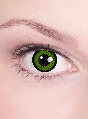 Halloween Karneval Party Motiv farbige Linsen Kontaktlinsen Bestie grün schwarz 1 - Monatslinsen ohne Stärke für Frauen und (Farbe Kontakte Halloween)
