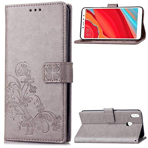 LAGUI Funda Adecuado para Xiaomi Redmi S2, Los Adornos Bien Definidos y Grabados Carcasa Tipo Libro, de ranuras para tarjetas y soporte horizontal y solapa con cierre magnético, gris
