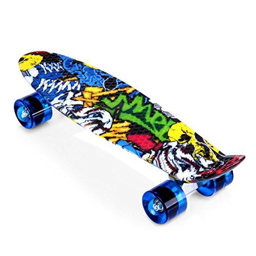 ENKEEO 57cm Mini Cruiser Board Skateboard mit stabilen Deck 4 PU-Rollen für Kinder, Jugendliche und Erwachsene (Joker)
