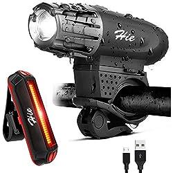 Luces para Bicicleta Recargable USB -400 Lúmenes LED luz delantera bici y Luz Trasera Bicicleta - Resistente a la Salpicadura - instalar y de liberación rápida