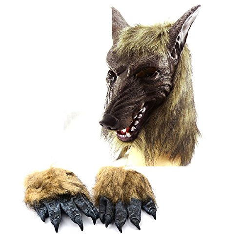 ouborui Halloween Horror Wolf Kopf Maske und Wolf Handschuhe für Cosplay Kostüm Party