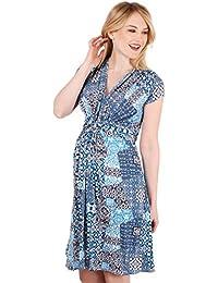 KRISP® Damen Umstandsmode Gemustertes Kleid mit Knoten und Schleife