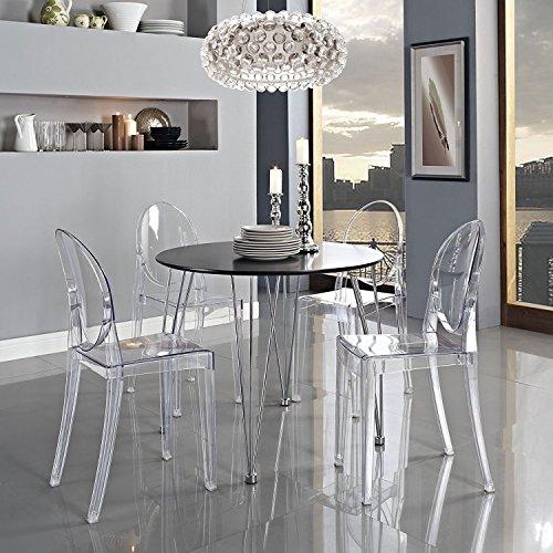 Panana 4er Design Stuhl Transparent Moderner Esszimmerstuhl Wohnzimmerstuhl Komfortables Sitzen für Familie Restaurant und Außen - Transparent. - Moderner Kunststoff-stuhl