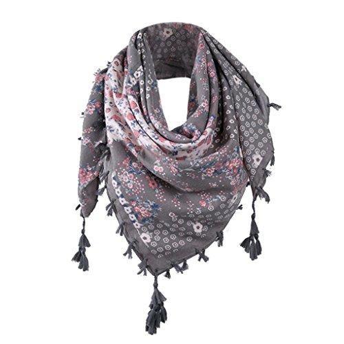 Mode Schal Dame ZIYOU Frauen Geblümt Quaste Halstücher Tücher Mehrfarbige übergroßer Oversized Poncho 106 x106cm (C) (Halstuch Damen)