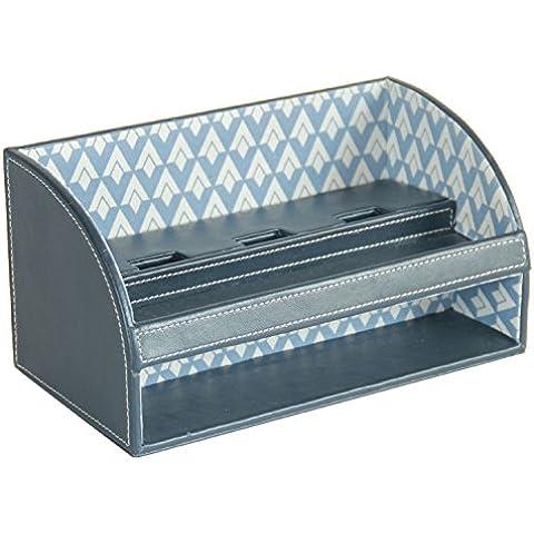 woosal Piel Sintética multifuncional organizador de almacenamiento de escritorio, con ranura de carga (Azul