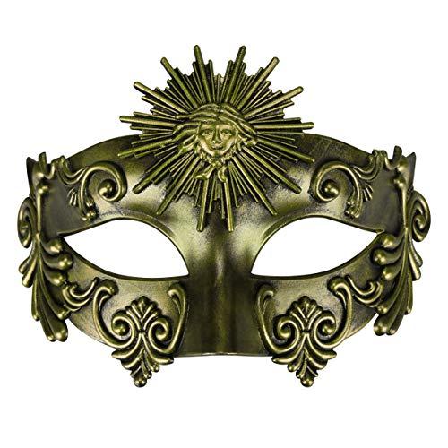 Römische Kaiser Für Kostüm Erwachsene - Thmyo Maskerade Maske römischen griechischen Kaiser venezianischen Kunststoff Halloween Party Ball Maske (Sonnengott Antikes Gold)