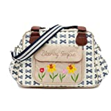 Pink Lining Blooming Gorgeous Navy Bows Wickeltasche