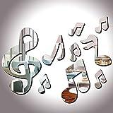 Kicode Miroir Stickers muraux 10pcs / set 3D Musical Notes Miroirs acryliques Art Bricolage Amovible Séjour de lit Décoration