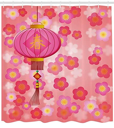 BUZRL Lantern Shower Curtain, Chinese New Year Theme Cherry Blossom Auspicious Festive Celebration Print, Fabric Bathroom Decor Set with Hooks, 60W X 72L Inche, Light Pink Yellow
