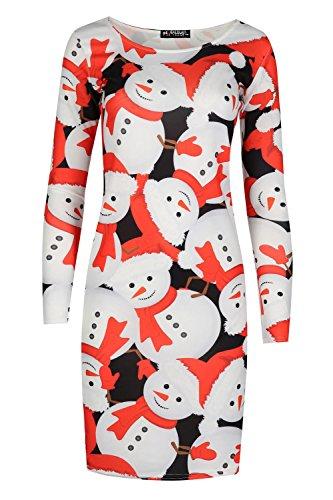 Oops Outlet Damen Weihnachten Weihnachtsmann Weihnachtsmann Hat Tree Langärmlig Geschäftet Schädel Candy-stick Weihnachten Bodycon Minikleid Schneemann Hut Weiß