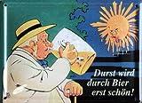 Beer - Blechschild - Durst wird durch Bier erst schön + 1 Packung tesa Powerstrips® - Inhalt 20 Stück