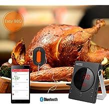 Termómetro de Barbacoa Profesional WEINAS® Termómetro Digital de Cocina para Carne y Alimento ( Juego de 2 Sondas de Carne Inteligentes, Dispositivos de Cocina Bluetooth) EasyBBQ App Compatible con iPhone iPad iOS y Android