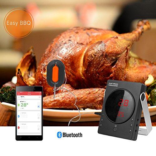 Barbecue Termometro Professionale WEINAS Termometro Digitale da Cucina per Carne Alimenti Barbecue ( 2 Sonda della Carne e Forno, Dispositivi da Cucina Bluetooth) EasyBBQ App Compatibile con iPhone iPad iOS e Android