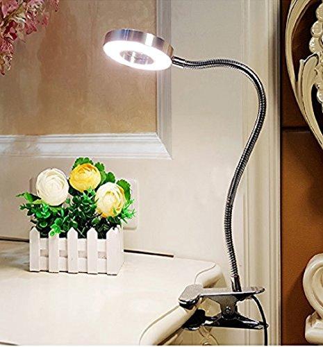 W-LITE LED Leselampe Dimmbare Buchlampe 6W mit Klemme 2 Lichtfarben Augenschutz für Bett, Buch, Tisch, Nachttisch (Silber)
