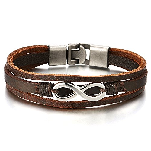 Infinity Liebe Unendlich Number 8 Verflochtenen Braun Echtes Leder Armband für Herren Damen