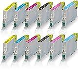 12x kompatible Tintenpatronen für Epson Stylus Photo R265 R285 R360 RX560 RX585 RX595 RX685 Schwarz - Black Cyan Magenta Yellow Light Cyan Light Magenta - Eco Print Serie
