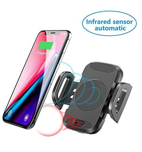 Supology Automatischer Kfz-Ladegerät Schnellladegerät Auto Drahtloses Ladegerät Halter Auto-Sensor Schnellaufladung für Samsung Galaxy S9 Plus / S9 / S8 Plus / S8 / Note 8, Standardgebühr für iPhone X, 8 Plus / 8 und alles QI-Enabled Telefon