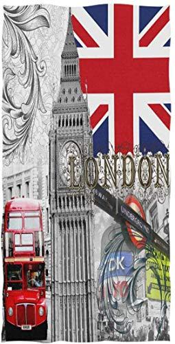 Vintage London Bigben Union Jack Bus Handtuch Waschlappen Baby Kleinkind Kinder Jungen Mädchen Frauen Mann -