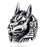 YABEINI Anillo Dios joyería Retro de Titanio de Acero Dominante Lobo Tallado por los Anillos...