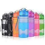 Grsta Sport Trinkflasche, 400ml/14oz - BPA frei Tritan Kunststoff Wasserflasche, Auslaufsicher Sporttrinkflaschen für Laufen, Yoga, Fahrrad, Kinder Schule, Wasser Flaschen mit Sieb (Blau)