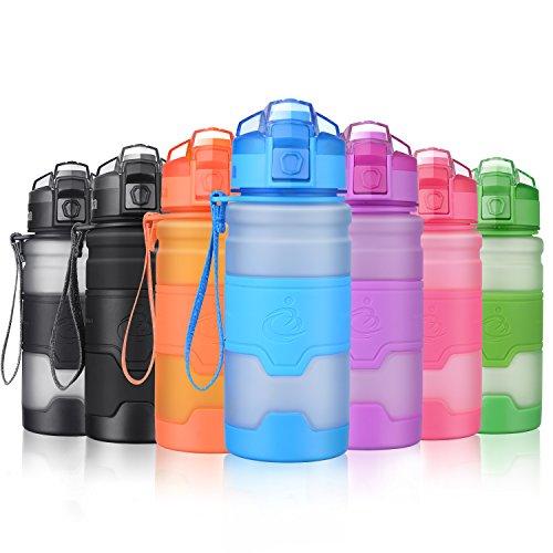 Grsta Botella de agua deportiva - 400ml/500ml/700ml/1l - sin BPA & a prueba de fugas, reutilizable de plastico tritan, agua botellas ideal con filtro para niños para niños, correr, gimnasio, yoga, aire libre y camping, 1-click apertura