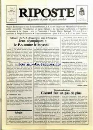 RIPOSTE [No 74] du 29/01/1980 - SAKHAROV - JEUX OLYMPIQUES - DENATIONALISATION - GISCARD - LA HAGUE - JOSPIN FELICITE BANISADR. par Collectif