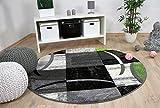 Designer Teppich Brilliant Karo Grau Grün Trend Rund in 3 Größen