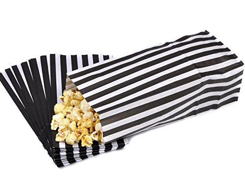 Preisvergleich Produktbild 100 Black White &Pick n Mix Sweet Party gestreift, Popcorn Tüten 10 cm x 9,5 cm x 3 cm