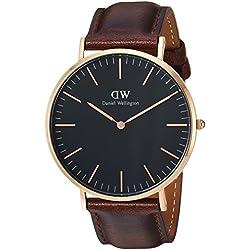 Daniel Wellington DW00100125 - Relojes en acero inoxidable con correa de piel, Unisex, color negro/marrón