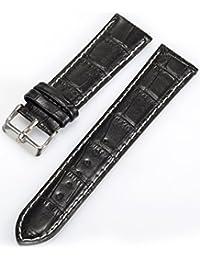 KS WTL023 - Correa de Reloj de Cuero, 22mm, Color Negro