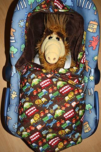 Herbst Baby Einschlagdecke Fußsack für Babyschale braun Auto LKW Bus Roller