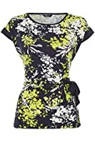 Roman Originals - Women's Floral Side Tie Top - Summer Casual Holiday Style - Lime Green Sizes 10 - 20