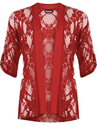 Ladies Lace Open Cardigan Womens Top Plus Sizes 12-26